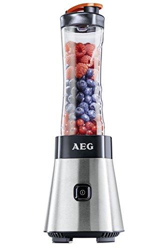 AEG PerfectMix SB 2400 Mini Mixer / Smoothiemaker mit 0,4 PS-Power-Motor bis zu 23.000 U/min, 4 Edelstahlmesser, bruchfeste 0,6 l BPA-freie Tritan-Trinkflasche, Standmixer mit gebürstetem Edelstahlgehäuse