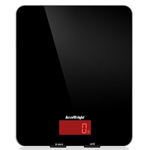 Accuweight AW-KS001 digitale Küchenwaage aus Sicherheitsglas mit LCD Display, 5kg, schwarz, Inkl. Batterie