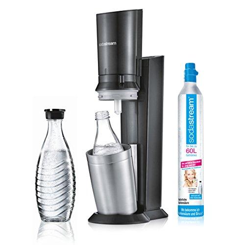 SodaStream CRYSTAL 2.0 Glaskaraffen Wassersprudler zum Sprudeln von Leitungswasser, mit spülmaschinenfester Glasflasche für Sprudelwasser. inkl. 1 Zylinder und 2 Glaskaraffen 0,6l; Farbe: titan