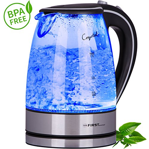 TZS First Austria – 2200 Watt Glas Edelstahl Wasserkocher 1,7 Liter blaue LED Innen-Beleuchtung 360 Grad, kabellos, Kalkfilter, BPA Frei, schwarz