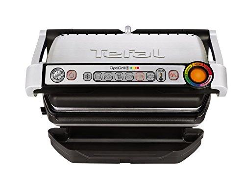 Tefal GC712D Optigrill plus, Plus-Modell mit zusätzlichen Temperaturstufen, 2000 W, automatische Anzeige des Garzustandes, 6 voreingestellte Grillprogramme, schwarz/silber