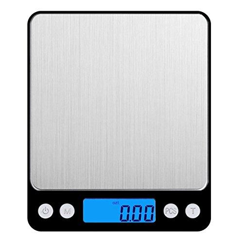 Amir Digitale Küchenwaage, Digitale Waage / hohe Präzision auf bis zu 0,1g 3kg Maximalgewicht, Tara-Funktion, ideal zum Messen von Zutaten, Schmuck, Reis, Mehl, Gold, Edelsteinen, Briefen, Briefmarken