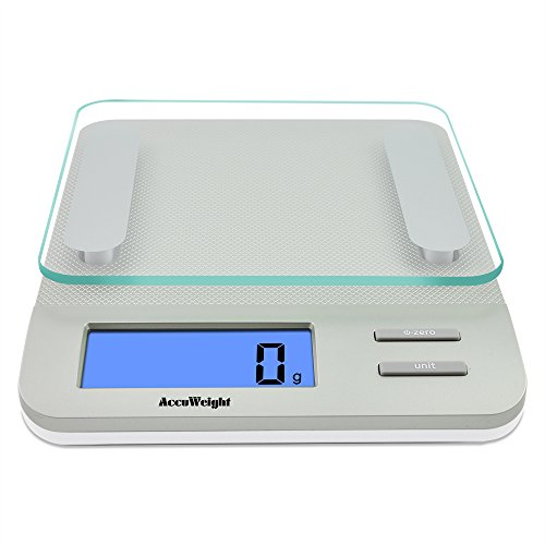 Accuweight AW-KS005 digitale Küchenwaage mit LCD Dispaly, Glasplatte, 5kg/11lb, Silber