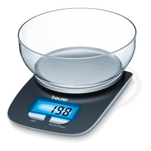 Beurer KS 25 Küchenwaage mit 1,2 l Glasschüssel: digitale Küchenwaage mit Tara-Zuwiegefunktion und 3 kg Tragkraft