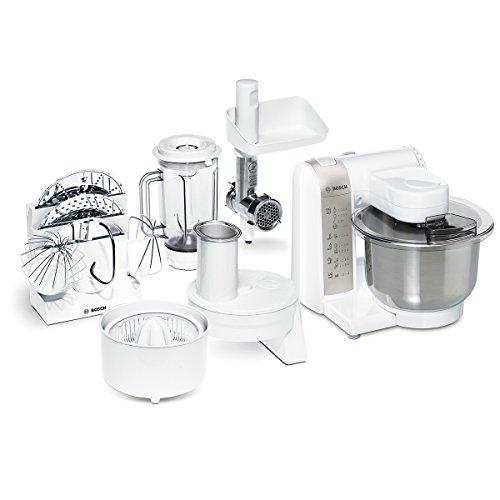 Bosch MUM4880 Küchenmaschine MUM4 600 Watt, Edelstahl-Rührschüssel, Durchlaufschnitzler, Mixeraufsatz Kunststoff, Fleischwolf, Zitruspresse, Rezept DVD weiß