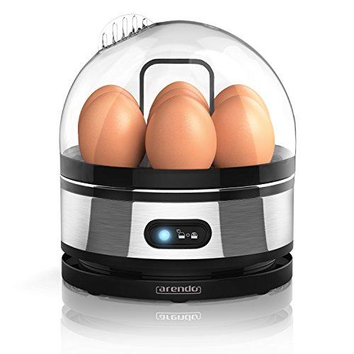 Arendo – Edelstahl Eierkocher mit Warmhaltefunktion | Kipp-Funktionsschalter mit Indikationsleuchte | einstellbarer Härtegrad | Abschrecken von 1-7 Eiern | rostfreier, gebürsteter Edelstahl