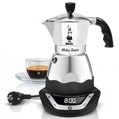 Bialetti 6093 Moka Timer – Elektrischer Aluminium-Espressokocher, kabellos, silber