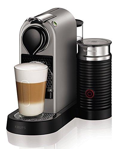 Krups Nespresso XN760B Kapselmaschine CitiZ&milk mit Aeroccino, Thermoblock-Heizsystem, 1 L Wasserbehälter, 19 bar, silber