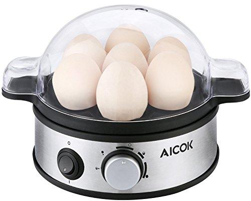 Aicok Eierkocher für 1-7 Eier, mit Härtegradeinstellung, 400 Watt, wählbarer Härtegrad, Multifunktionell, Signalton, Indikationsleuchte, Kocher für Gemüse, Eier etc, Schwarz/Silber/Edelstahl, rostfrei