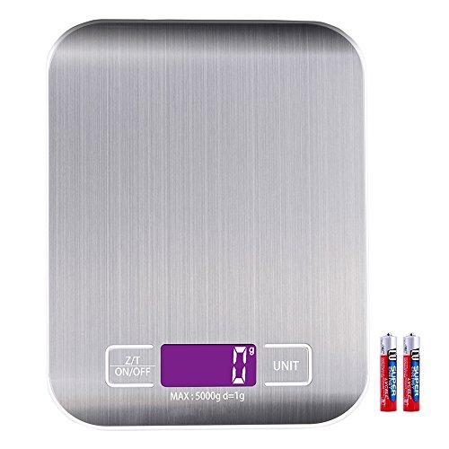 Billpow Digitale Küchenwaage, Digitalwaage Küche, Elektronische Waage, Hohe Präzision auf bis zu 1g 5kg Maximalgewicht, Tara-Funktion, LCD-Display, Inkl Batterie