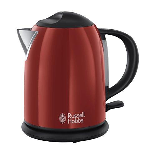 Russell Hobbs 20191-70 Colours Plus+ Flame Red Kompakt-Wasserkocher, Sicherheitsdeckel, kabellos, 1 L, 2200 Watt, rot