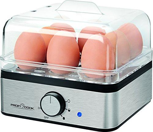 ProfiCook PC-EK 1084 Eierkocher für bis zu 8 Eier, Omelette-/Pochieren-Funktion, Edelstahlgehäuse