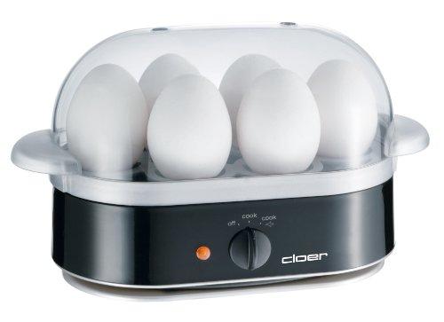 Cloer 6090 Eierkocher mit akustischer Fertigmeldung / 400 W / für 6 Eier / antihaftbeschichtete Heizplatte
