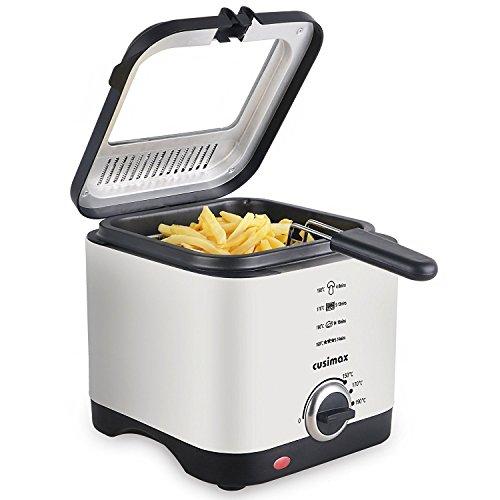 Cusimax 900W Mini Fritteuse, Kompakt-Fritteuse mit Temperaturkontrolle, Edelstahlgehäuse und Edelstahlkorb, 1,5 Liter für 2-3 Personen, CMDF-900S