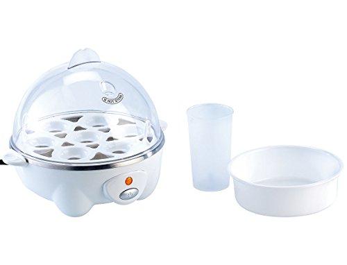 PEARL Eierkochhilfe: 2in1 Eierkocher mit Pochier-Einsatz, 7 Eier bzw. Spiegel- oder Rührei Eierkocher mit Härtegradeinstellung