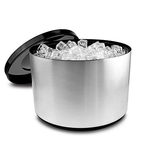 Eiswürfelbehälter mit Deckel, 10 Liter Kühler Runde Eiskübel Eiseimer – gebürstetem Aluminium