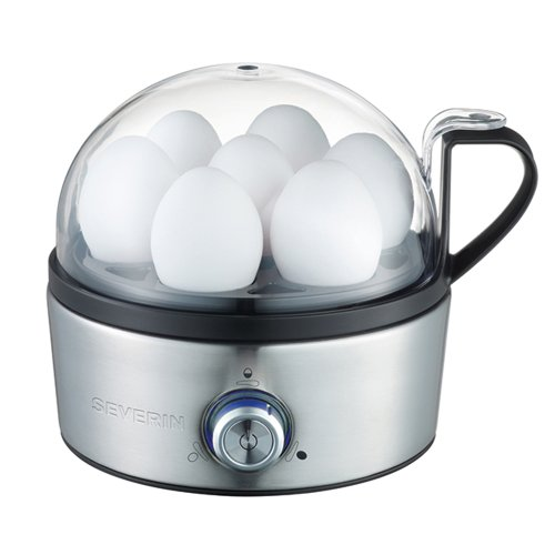 Severin EK 3127 Eierkocher, 1-7 Eier, Edelstahl-gebürstet-schwarz