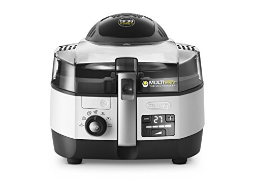De'Longhi MultiFry Extra Chef FH 1394 Heißluftfritteuse/Multicooker 1,7 kg Fassungsvermögen, 1.400W / 1.000W, 8 Portionen, SHS-Double-Pro, Rezepte-App grau/weiß