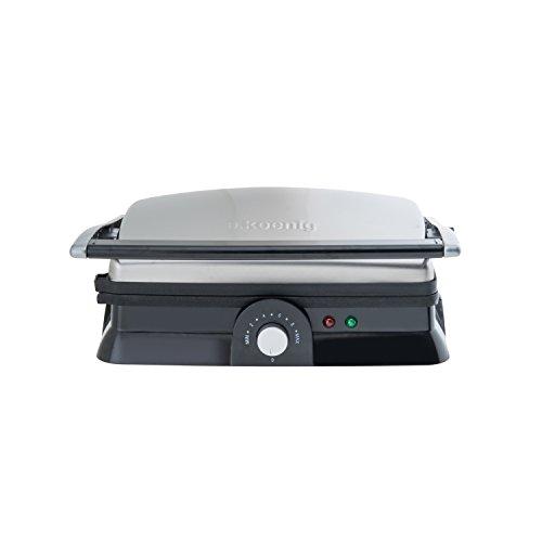 H.Koenig GR20 Kontaktgrill / vollständig aufklappbar / Antihaft-Beschichtung / stufenlose Temperatureinstellung / 2000 W / Edelstahl / silber