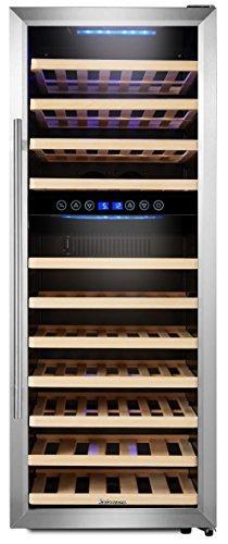 Kalamera KRC-73BSS Design Weinkühlschrank für bis zu 73 Flaschen bis zu 310 mm Höhe,weinkühler mit Kompressor,zwei Temperaturzonen 5-10°C/10-18°C,200 Liter, LED Bedienoberfläche, Edelstahl Glastür