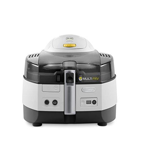 De'Longhi MultiFry Extra FH 1363 Heißluftfritteuse/Multicooker 1,7 kg Fassungsvermögen, 1.400W / 200W, 8 Portionen, SHS-Double, Rezepte-App grau/weiß