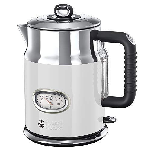 Russell Hobbs 21674-70 Wasserkocher Retro Classic Blanc, 2400 Watt, 1.7l, Retro Wassertemperaturanzeige, Schnellkochfunktion, Edelstahl/weiss