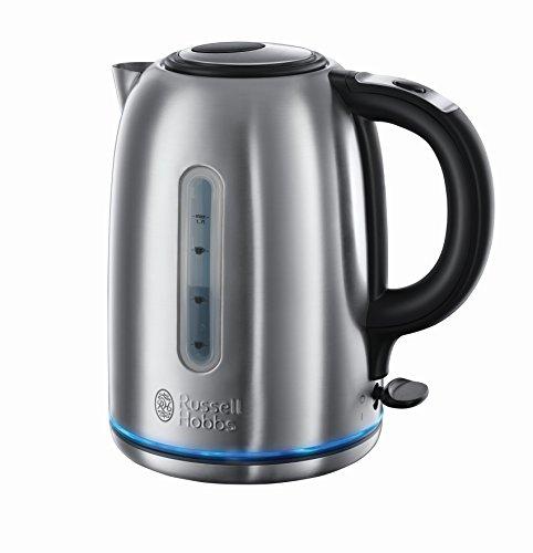 Russell Hobbs 20460-56 Wasserkocher Buckingham, 3000 Watt, 1.7l, Quiet-Boil Technologie, Schnellkochfunktion, Edelstahl/schwarz