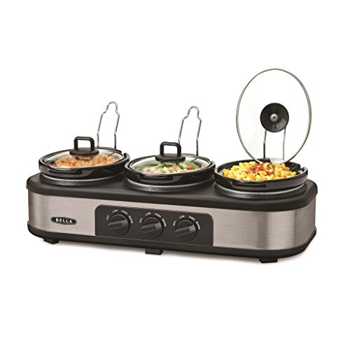 Bella Cook & Serve 3 Pot Slow Cooker With Keep Warm Buffet Setting by Bella