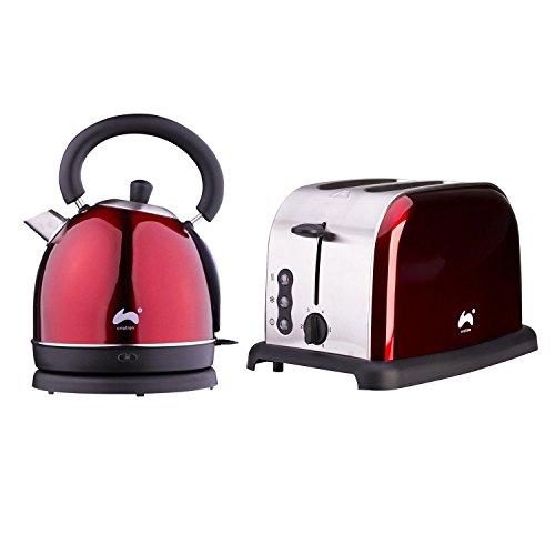 Gro?e Schnell kochen Dome Wasserkocher + 2?Slice Toaster breit Slot Set rot