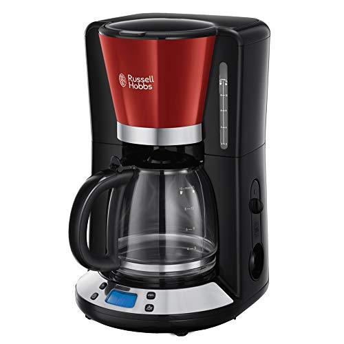 Russell Hobbs 24031-56 Digitale Glas-Kaffeemaschine Colours Plus+ Flame Red, 1.25l, WhirlTech-Brühtechnologie, digitales Bedienelement mit programmierbarem Timer, 1100 Watt, rot/schwarz