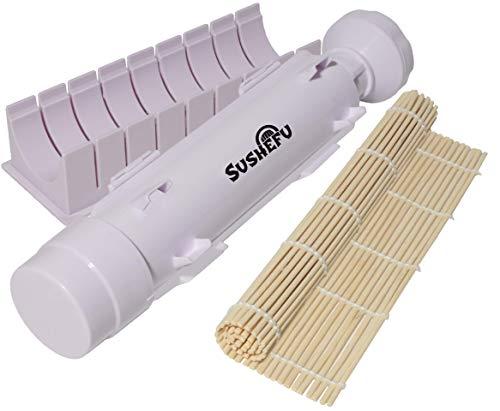 Sushefu Sushi-Herstellungsmaschine mit Walzen- und Bambusschneider vollständige Anleitung und Rezeptbuch enthalten