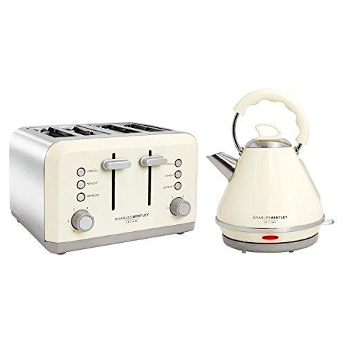 Charles Bentley Cream & Grey 3kW 1.7 Pyramid Wasserkocher und 4 Scheiben-Toaster Frühstück Küchengerät Set Neu