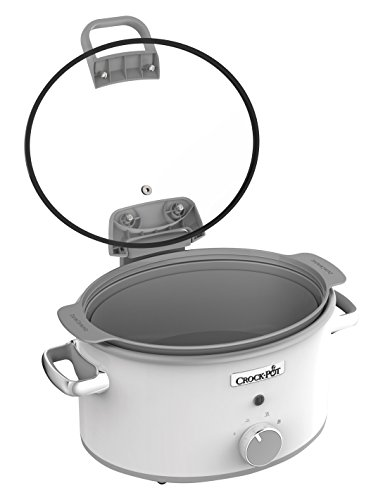 Crock-Pot CSC038 Duraceramic Saute Slow Cooker with Hinged Lid, 4.5 Litre, White Energy Class A