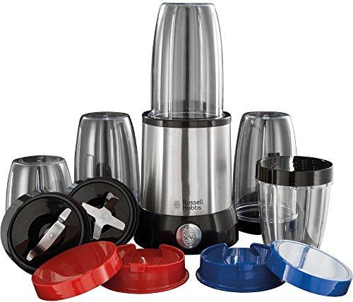 Russell Hobbs 23180-56 Multifunktionsmixer NutriBoost, inkl. 5 BPA-freie Behälter, 0.9 PS-Motor, 22000 U/min, 700 Watt, Edelstahl/schwarz
