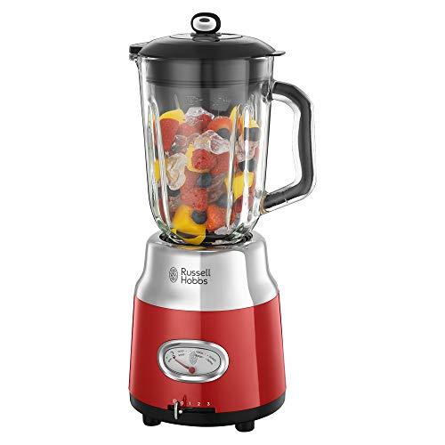Russell Hobbs 25190-56 Glas-Standmixer Retro Ribbon Red, Retro-Anzeige, Impulse-/Ice-Crush-Funktion, 3 Geschwindigkeitsstufen, 1,1 PS-Motor, 1.5l Glasbehälter, rot