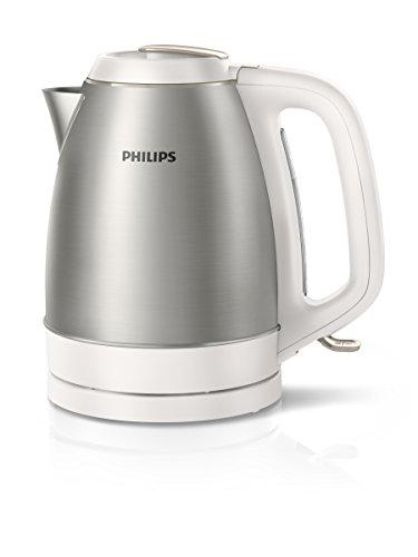 Philips Wasserkocher HD9305/20 aus Edelstahl 2200 W, 1,5 L abnehmbarer Deckel, weiß