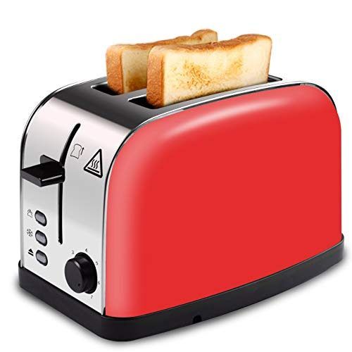 LATITOP Automatik-Toaster,Rot 2-Scheiben Toaster mit Breiter Steckplatz, herausnehmbarem Krümelschublade, Hoher Hubhebel für kleine und große Brotscheiben Bagels