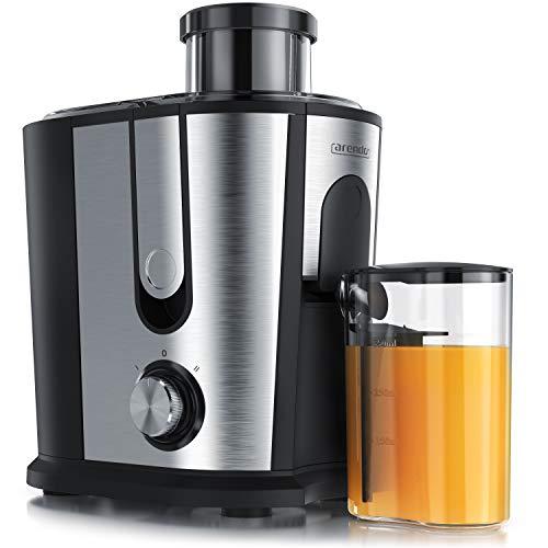 Entsafter für Obst und Gemüse in Edelstahl | Zentrifugaler Entsafter Juicer | elektrisch | 2 Geschwindigkeitsstufen | Überhitzungsschutz | Edelstahlgehäuse | BPA-frei – Arendo