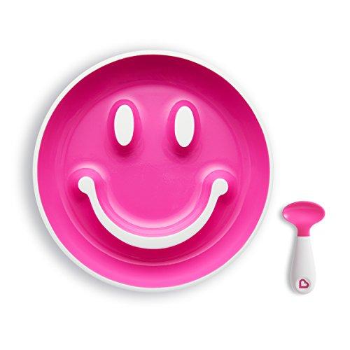 Munchkin Smile 'n Scoop Kinderteller- und Löffelset, rosa