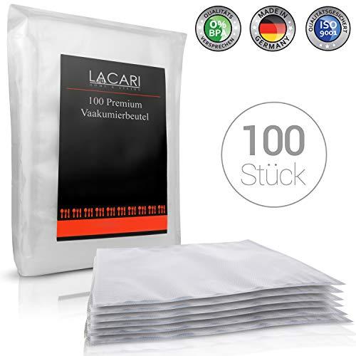 16×23 cm – Lacari ® 100 Premium Vakuumbeutel – Perfekt zum Sous Vide Garen geeignet – EINFÜHRUNGSANGEBOT – Vakuumierbeutel für alle Folienschweißgeräte – Inkl. GRATIS EBook