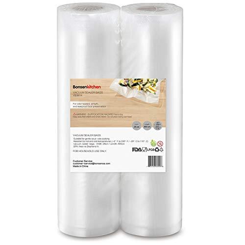 Bonsenkitchen Vakuumierfolie Rollen,Vakuumierbeutel 2 Packungen 28 x 600 cm insgesamt 12 m Hochwertige kommerzielle Saver-Beutel für Lebensmittel und Sous Vide Cooking, VB3814