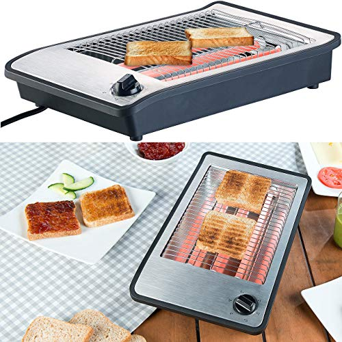 Rosenstein & Söhne Toaster: Flachtoaster für bis zu 4 Brötchen, 3 Heizelemente, Timer, 600 Watt Brottoaster