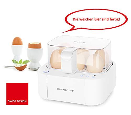 Emerio EB-115560.2 NEUHEIT, kocht alle drei Garstufen weich|mittel|hart in nur einem Kochvorgang mit perfektem Ergebnis, Sprachausgabe, einzigartig in Technik und Design 400, Weiß