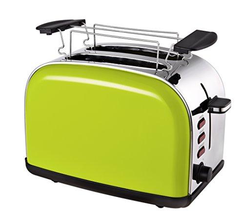 Team Kalorik 2-Scheiben-Toaster, Retro-Design, Separater Brötchenaufsatz, Integrierte Krümelschublade, 1050 W, Apfelgrün, TKG TO 1045 AG