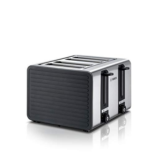 Bosch TAT7S45 4-Schlitz-Toaster Edelstahl mit Silikon, max. 1800 W, Auftau- und Aufknusperfunktion, stufenloser Röstgradwähler, grau/schwarz