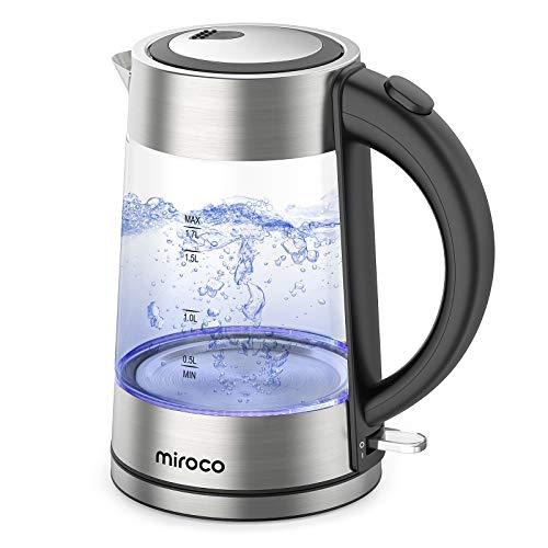 Miroco Glas Wasserkocher, Elektrischer Wasserkessel Teekessel mit Edelstahl Deckel, 2200W Schnelles Wasserkochen für Tee Kaffee, 1,7L Elektrische Kanne, LED-Beleuchtung, Trockenlaufschutz, BPA-Frei