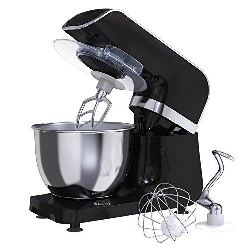 MLITER 800W Küchenmaschine Teig Knetmaschine Rührmaschine mit 4.0L Edelstahl-Rührschüssel, Spritzschutz, Rührhaken, Schneebesen und Knethaken, 6-stufig einstellbare Geschwindigkeit Schwarz