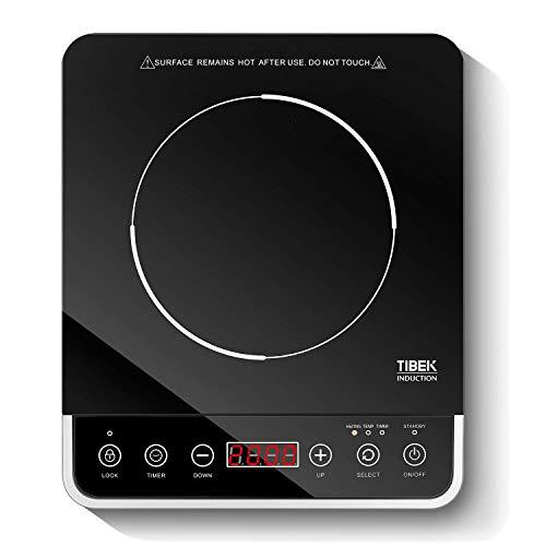 Induktionskochplatte 2000W Induktionskochfeld mit Glaskeramik LED Display, Sensor-Touch Kochplatte Induktion, 180MIN Timer, Wählbare Temperatur 60-240°C, Schwarz