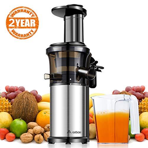 Aobosi Kompakt Slow Juicer/Edelstahl Entsafter/Saftpresse für Obst und Gemüse mit tragbar Griff/Rücklauffunktion/geräuschlosem Motor und Reinigungsbürste für einen nährstoffreichen SaftSilber