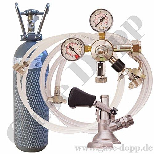2 kg Co2 Flasche + C02 Druckminderer 1 leitig 3 Bar + Bier und CO2 Schlauch + Flach Keg – im Set für Bier Zapfanlagen/Durchlaufkühler / CO2 Flasche von Gase Dopp
